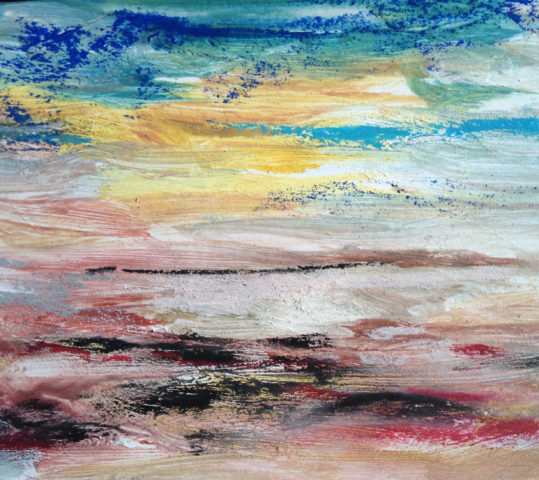 Notation As Landscape; watercolour and acrylic postcards